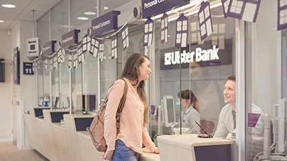 Young woman in an Ulster Bank branch
