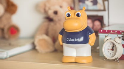 Henri Hippo moneybox on bedside table