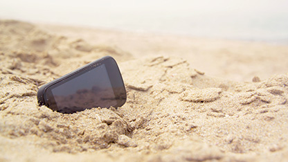Mobile phone lost at the beach