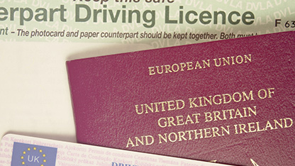 Passport and driving license examples